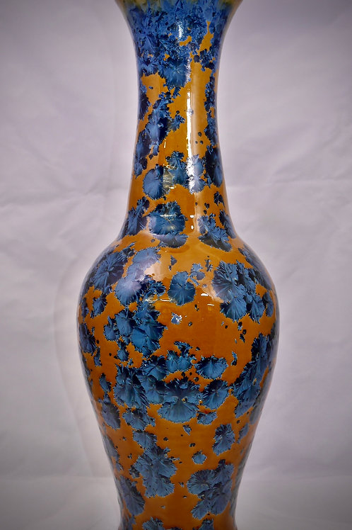 Tall 17 inch classic vase in steel blue and amber