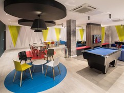 Spacious common room with games