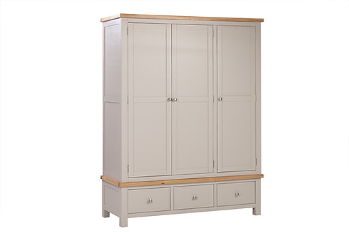 Devonshire Living Dorset Painted Putty DPT033P Triple Wardrobe with 3 Drawers