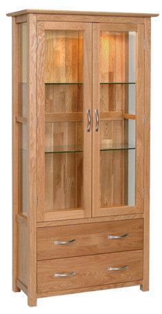 Devonshire Living New Oak NG40 Oak 2 Drawer Glass Display Unit