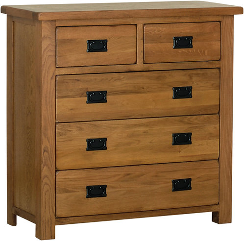 Devonshire Living Rustic Oak RC70 2 Over 3 Chest of Drawers