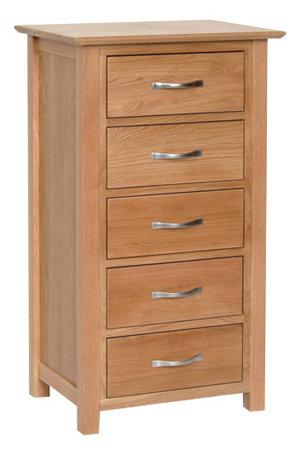 Devonshire Pine New Oak NB50 Oak 5 Drawer Wellington