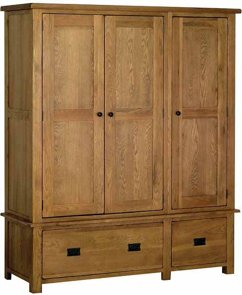 Devonshire Pine Rustic Oak RW50 Triple Wardrobe with Drawers