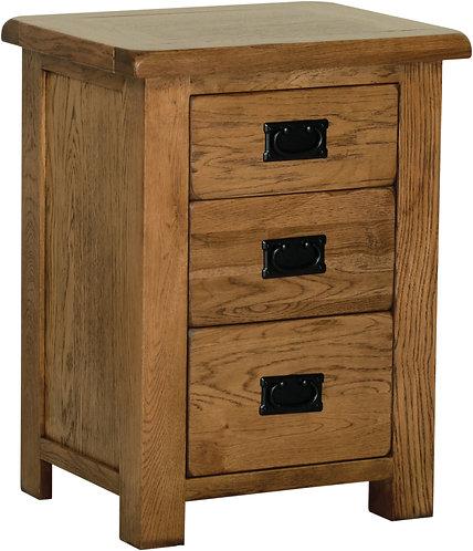 Devonshire Living Rustic Oak RB40 3 Drawer High Bedside