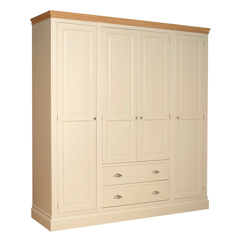 Devonshire Pine Lundy LW90 Quad Wardrobe Split Version On Middle Section