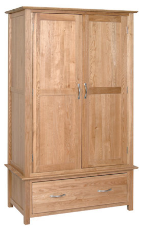 Devonshire Living New Oak NW30 Double Wardrobe with 1 Drawer