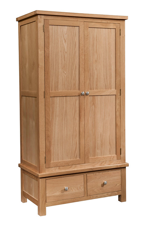 Devonshire Living Dorset Oak DOR032 Double Wardrobe with 2 Drawers