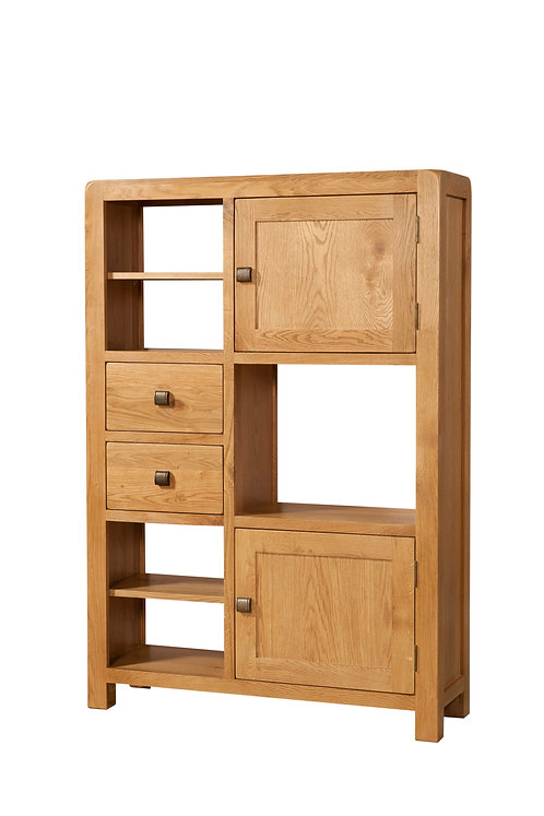 Devonshire Pine Avon Oak DAV009 High Display Unit with 2 Doors & 2 Drawers