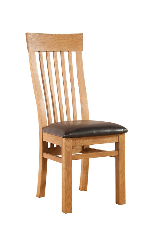 Devonshire Pine Somerset DAV025 Curved Back Waxed Dining Chair with Brown PU Pad