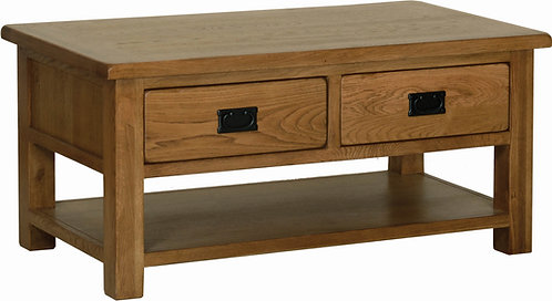 Devonshire Living Rustic Oak RT15 Coffee Table with 2 Drawers