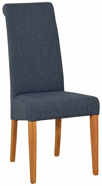 Devonshire Living New Oak FAB700 Blue Fabric Dining Chair
