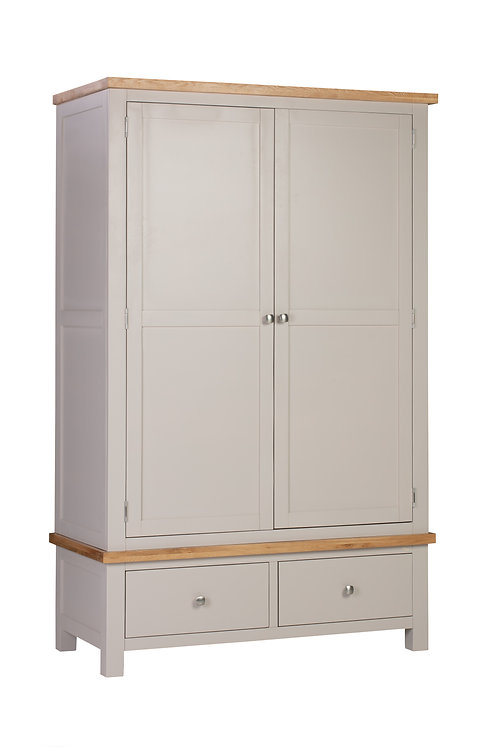 Devonshire Living Dorset Painted Putty DPT032P Double Wardrobe with 2 Drawers