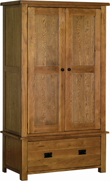 Devonshire Living Rustic Oak RW30 Double Wardrobe with Drawer