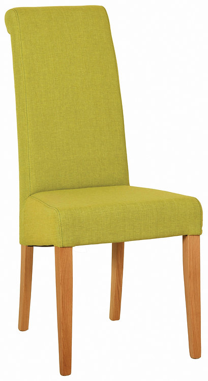 Devonshire Living New Oak FAB804 Lime Fabric Dining Chair