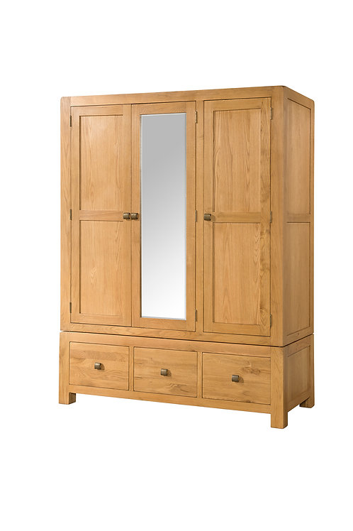 Devonshire Living Avon Oak DAV036 Triple Wardrobe with 3 Drawers and Mirror