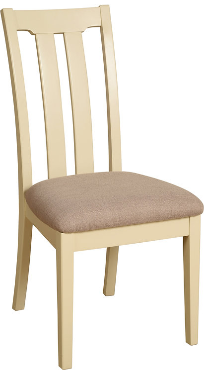 LH08 Slat Back Dining Chair Grey Fabric Seat Pad