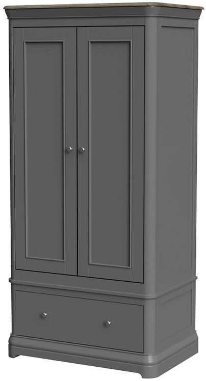 Devonshire Living Pebble Painted PEB032 Double Wardrobe with Drawer