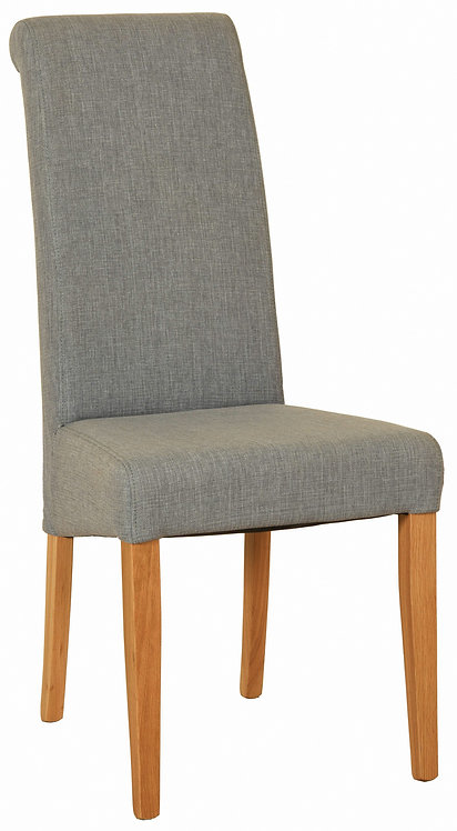 Devonshire Pine New Oak FAB600 Grey Fabric Dining Chair with Natural Leg Finish