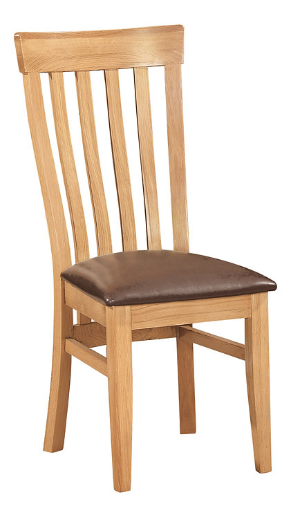 Devonshire Pine New Oak DOR099 Toulouse Dining Chair with PU Seat Pad