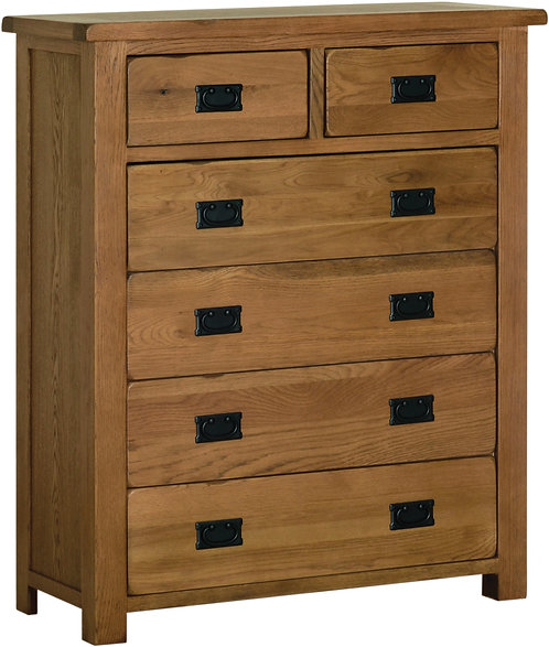 Devonshire Living Rustic Oak RC80 2 Over 4 Chest of Drawers