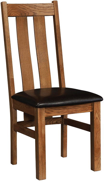 Devonshire Living Rustic Oak RUS100 Arizona Dining Chair with Dark Brown PU