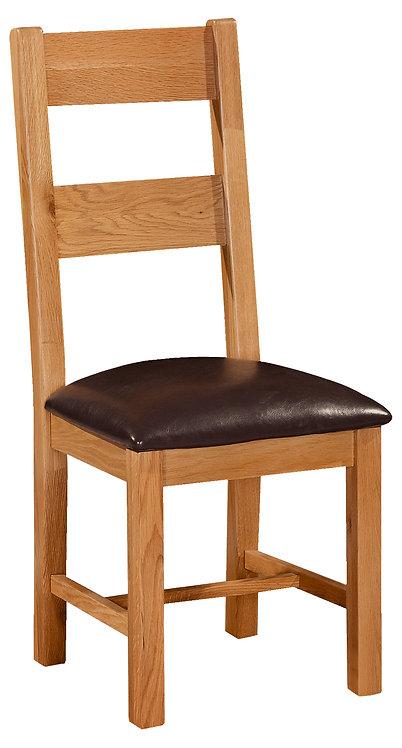 Devonshire Pine Somerset SOM098 Ladder Back Chair with Dark Brown PU Pad