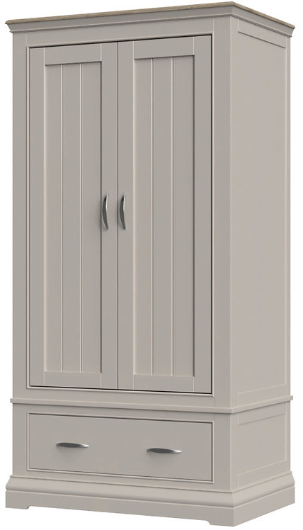 Devonshire Pine Cobble Painted COB032 Double Wardrobe with Drawer