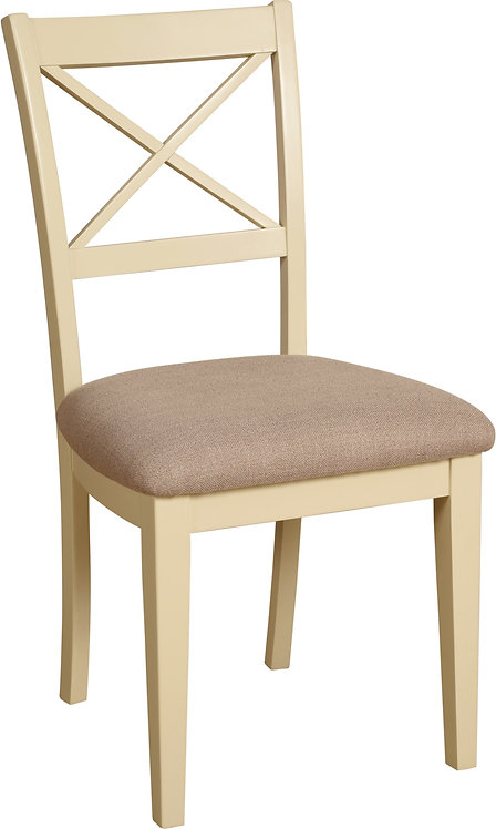 Devonshire Living LH07 Cross Back Dining Chair Grey Fabric Seat Pad