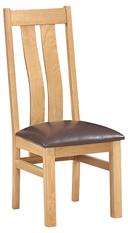 Devonshire Living New Oak DOR100 Arizona Dining Chair with PU Seat Pad