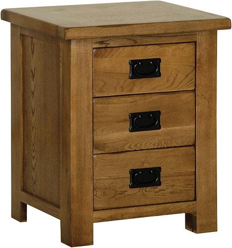 Devonshire Living Rustic Oak RB30 3 Drawer Bedside