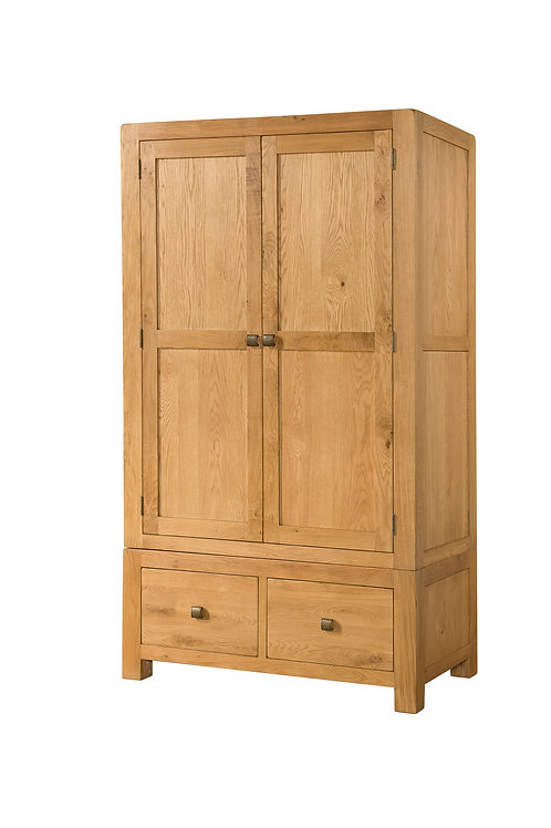 Devonshire Pine Avon Oak DAV035 Double Wardrobe with 2 Drawers