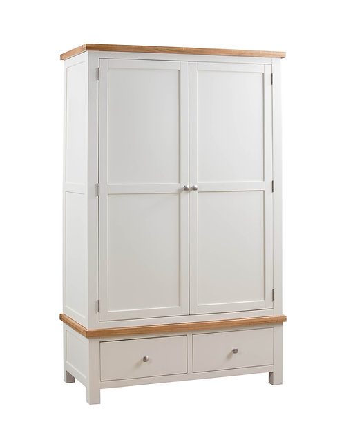 Devonshire Pine Dorset Painted DPT032 Double Wardrobe with 2 Drawers