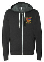 Dark Gray Zip Up Hoodie with color logo.