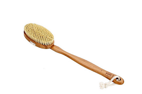 BASS Dark Bamboo Body Brush Natural Bristles