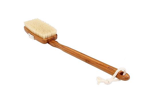 BASS Dark Bamboo Square Body Brush Natural Bristle