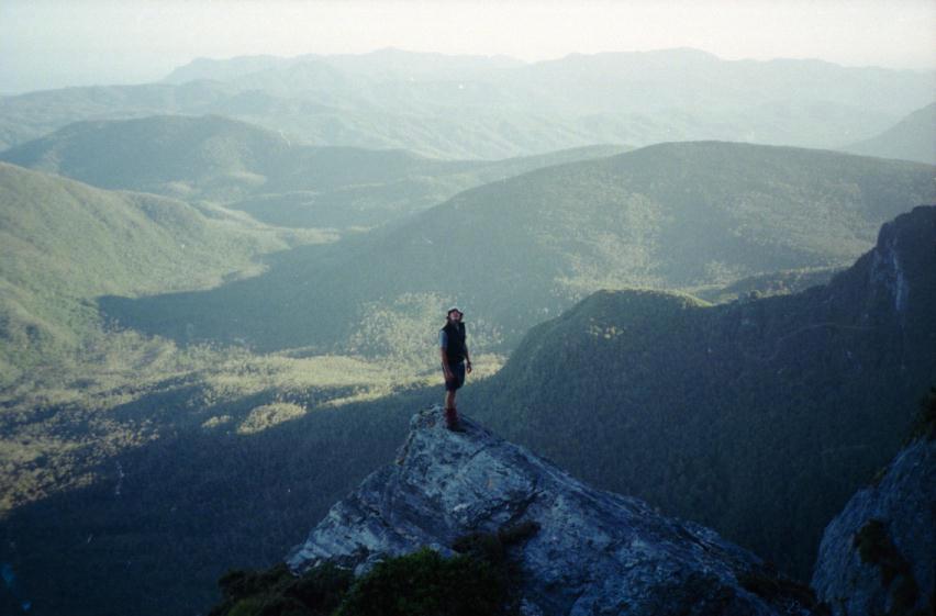 Patrice surveys the cliffs ahead