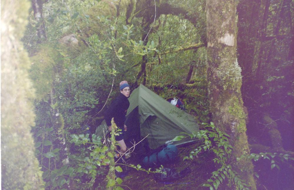 Setting up camp near the Mt Bobs saddle