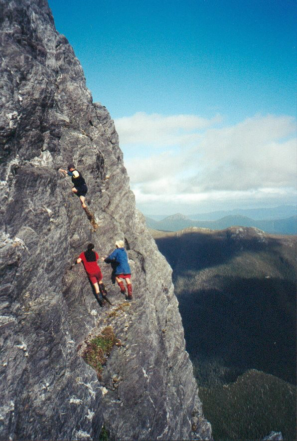Patrice Goulet took this photo on our 2001 Federation Peak climb. Mowser leads Woolza and Ivo up the final pitch of Federation Peak.
