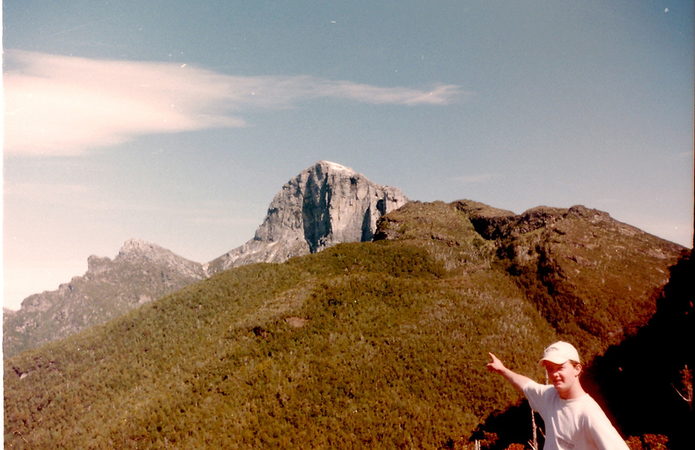 James Begg at the Baron Pass with Frenchmans Cap in the distance