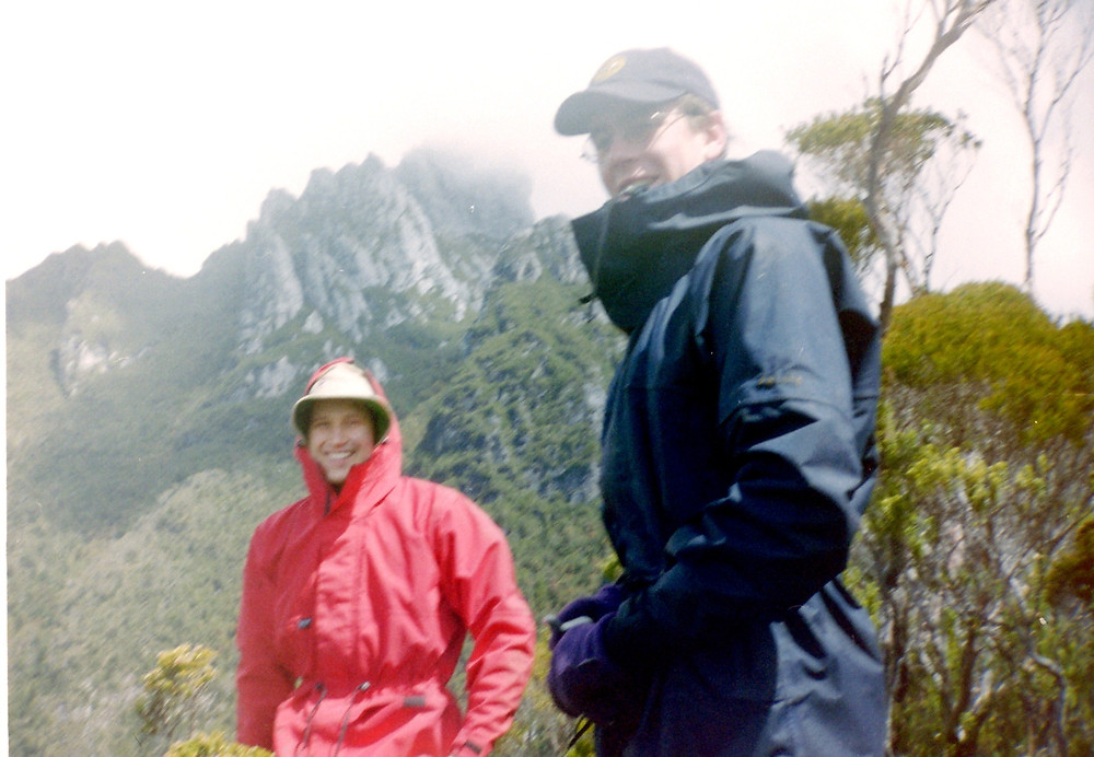 1999, Moss Ridge. Ivo and Mowser with Federation Peak behind.