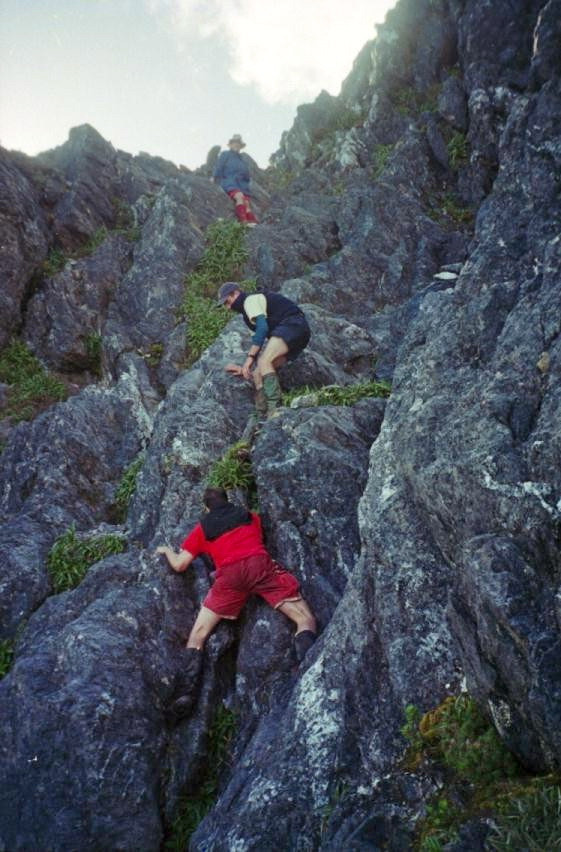 Negotiating the southern traverse. This leads to the direct ascent of Federation Peak.