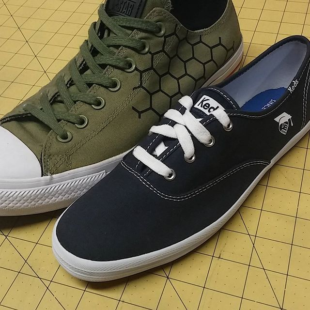 We can customize select styles of canvas shoes like Keds and Converse, contact us today for details