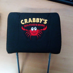 Embroidered headrest for a customers company vehicle #embroidery #interior