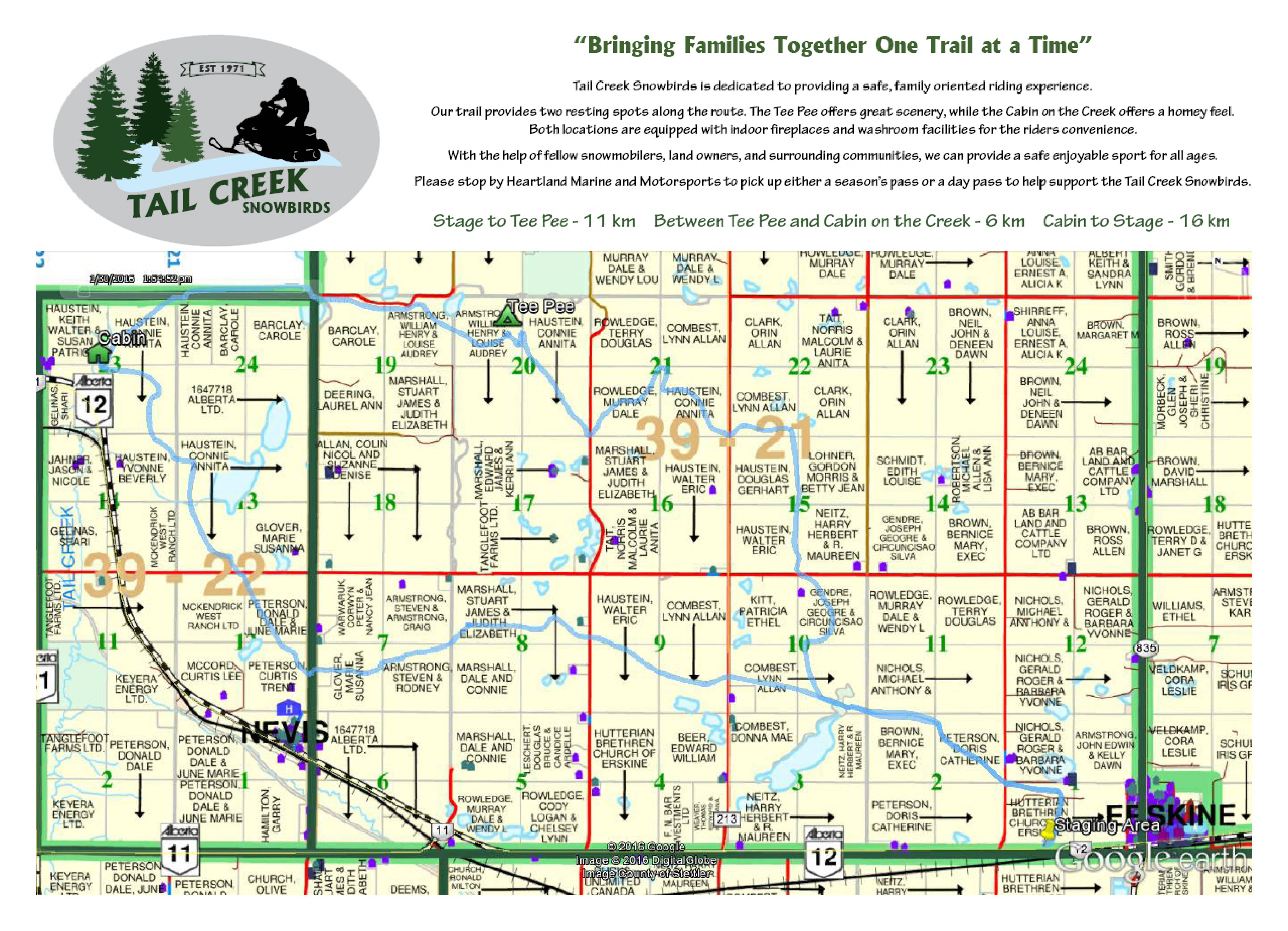 Tail Creek Trail Map referenced