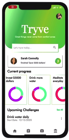 Tryve lifestyle investing app lifestyle investment phone app better yourself phone app crowdfunding lifestyle investment app new investment app pay for completing goals money for goals