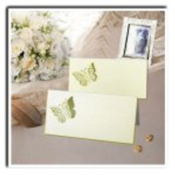 place card ivory cutout butterfly