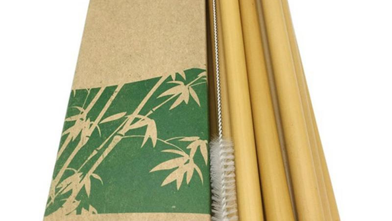 10 Pcs Natural Bamboo Straws, Straw Cleaner and Paper Box