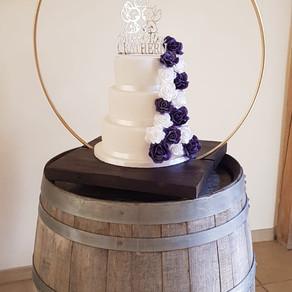 Three tier wedding cake at Rivervale barn