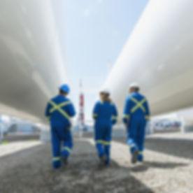 Os trabalhadores da planta de gás