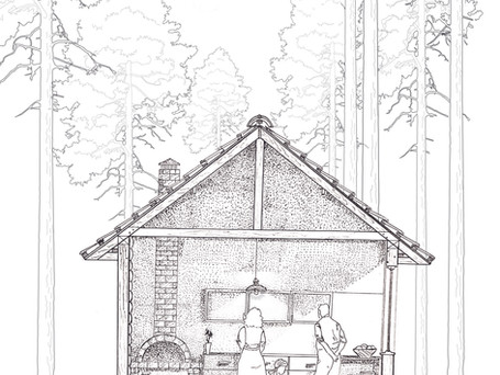 Forest timber house section